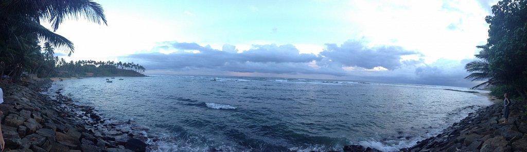 Mirissa - beach at sunset panorama