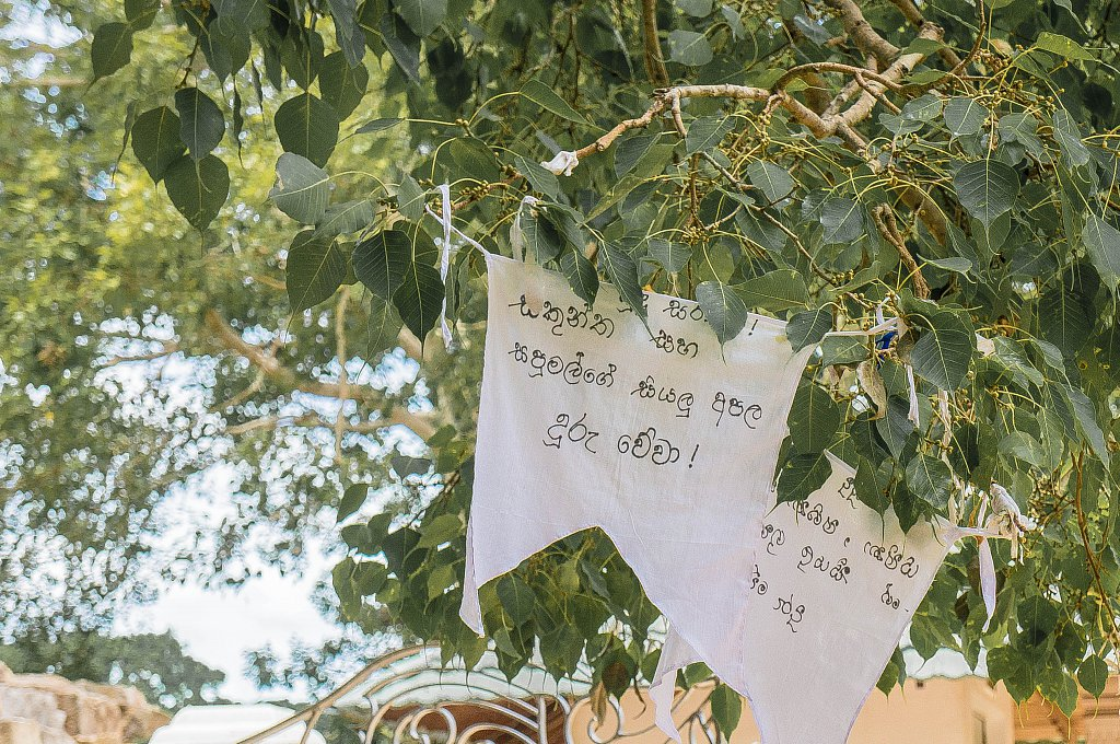 Anuradhapura - Sri Maha Bodhi wishes on tied cloth