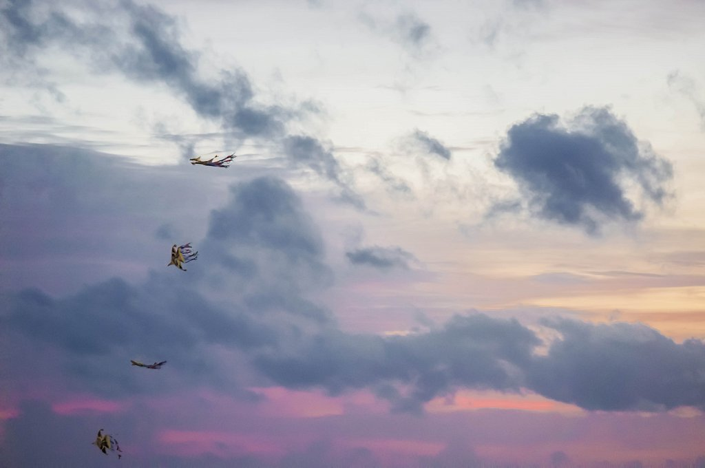 Colombo - Galle Face Green kites at sunset